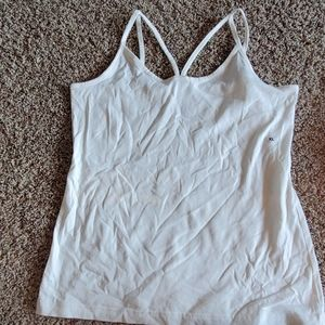 White strappy, cross front cami tank.